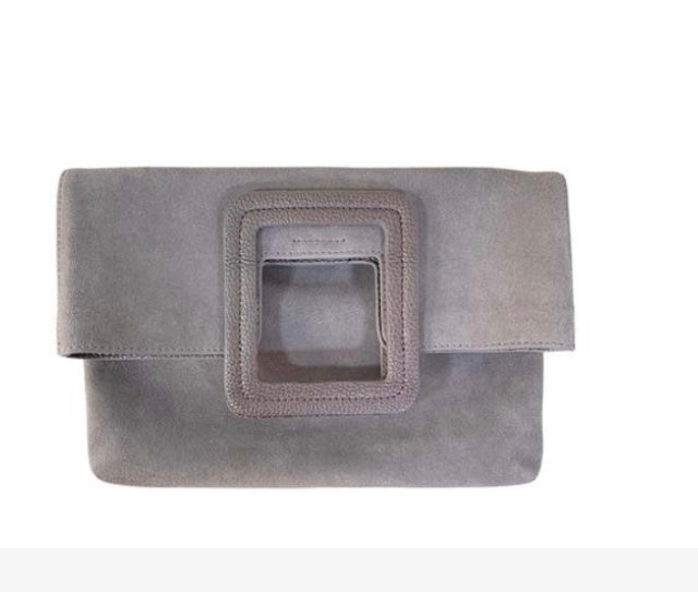 Milo Foldover Clutch in Grey Suede