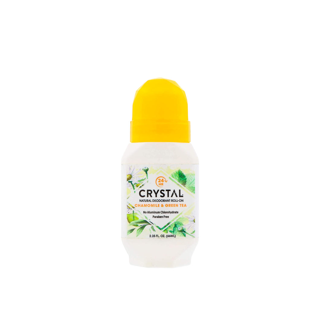 Crystal Natural Deodorant Roll On - Chamomile & Green Tea 2.25 oz.