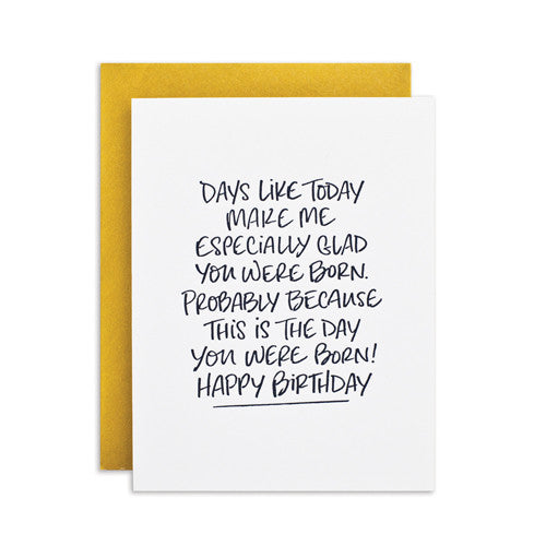 """GLAD YOU WERE BORN"" CARD"