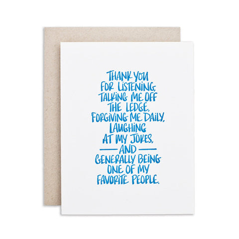 """THANK YOU FOR..."" CARD"
