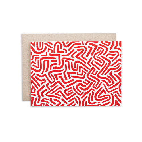 """RED ORANGE PATTERN"" CARD"