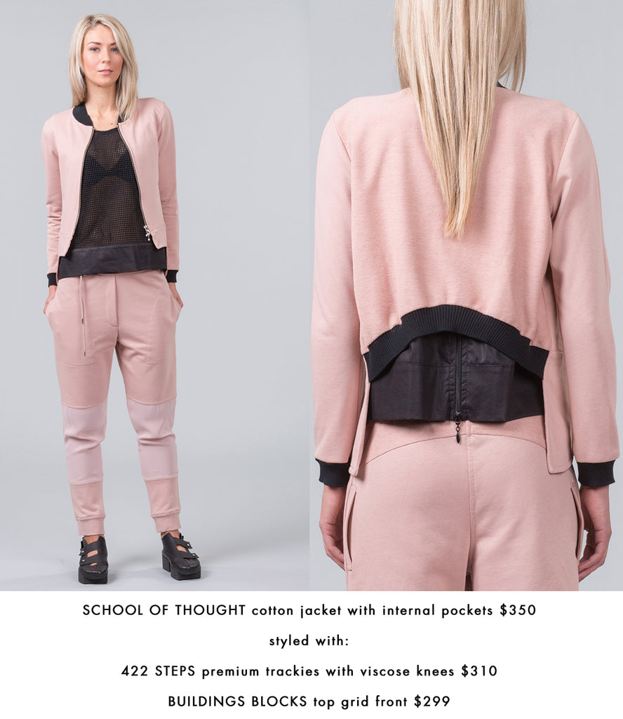 MILD RED School of Thoughts blush pink colour jacket