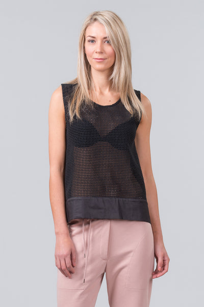 MILD-RED Building Blocks box singlet top with fabric & zip back. Grid mesh or Lace front options
