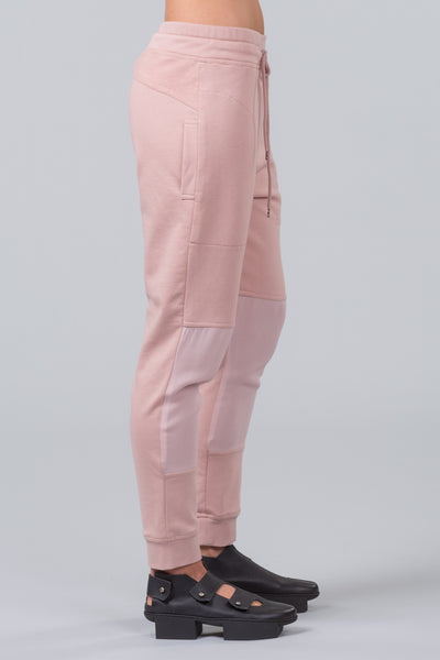 MILD RED 422 Steps luxe blush pink cotton trackies with viscose knee inset