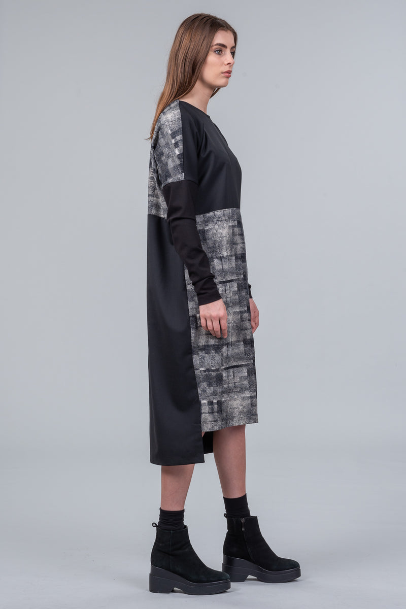 Cross Roads Dress - grid/black