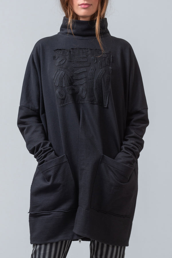 POST MASTER - oversized cotton sweatshirt - black