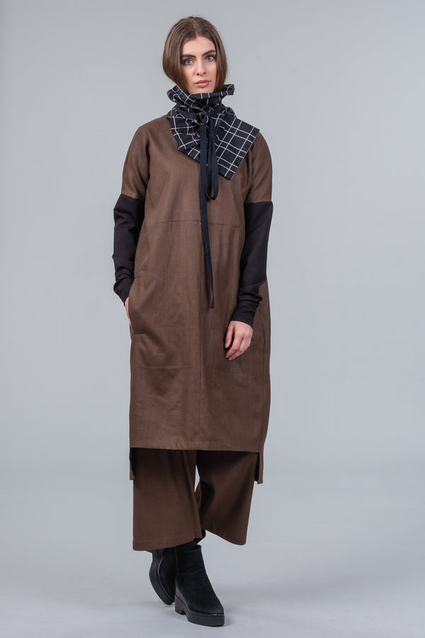 Dividing Line Dress - coffee khaki