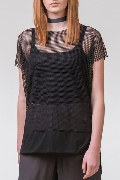 Pencil Pusher Mesh Top - black