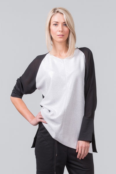 MILD RED Luxe Sundays - Premium loose fit spring / summer cotton sweatshirt top - Black with metallic silver front and black viscose sleeves