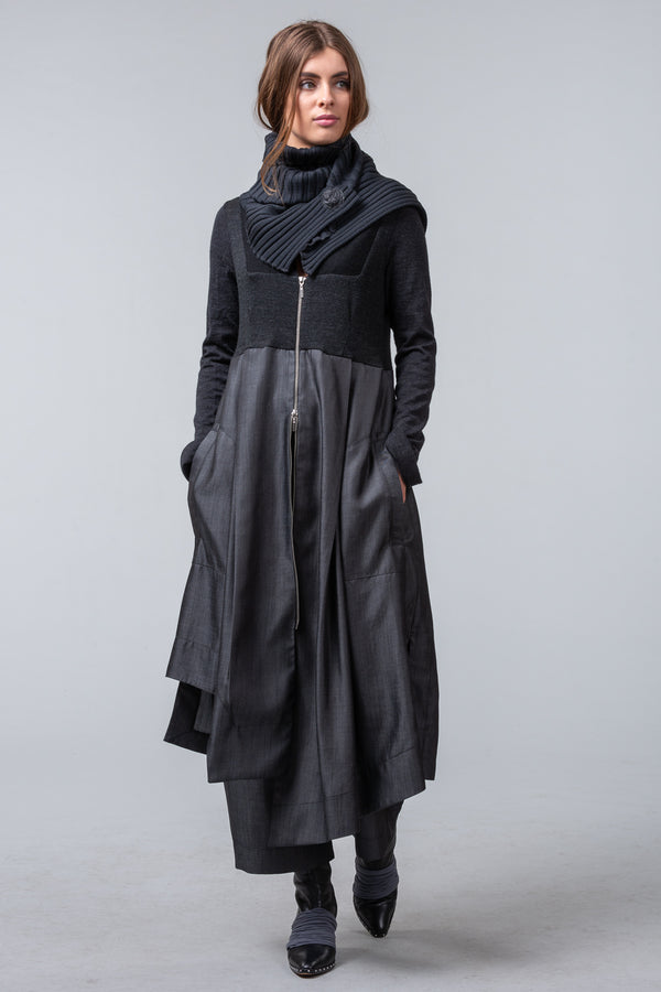 Postcards from Winter - coat dress - charcoal
