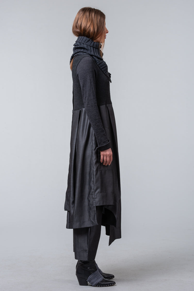 Postcards from Winter - coat dress - metal / charcoal