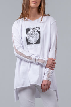 Loving Heart - long sleeve tee - white