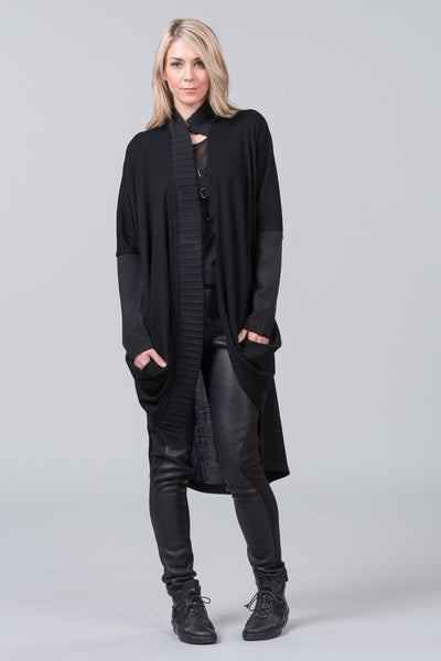 Concept knit coat - black
