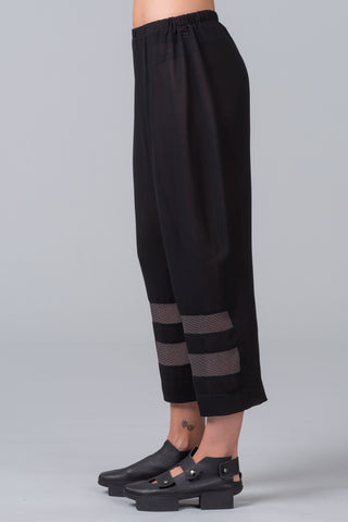 Step Ladder Pants - black with patterned silk inset