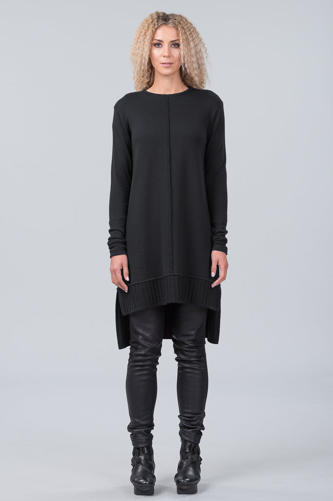 Monet merino sweater dress - black