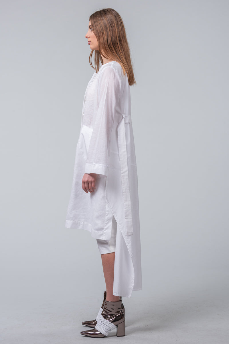 Mechanics of Construction - sculptured coat-dress - white