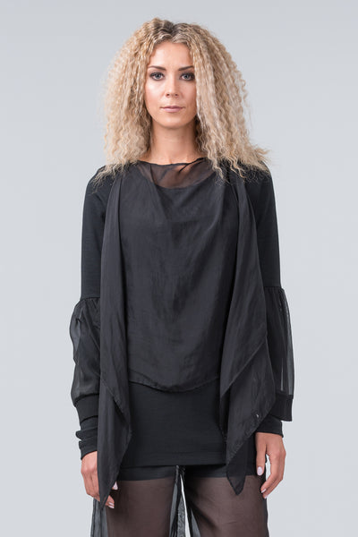Silhouette merino top - black