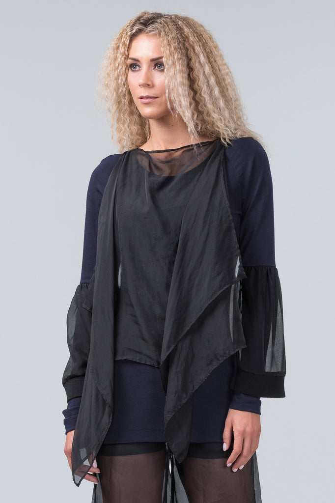 Silhouette merino top - midnight