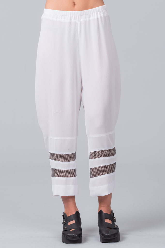 Step Ladder Pants - white with patterned silk inset