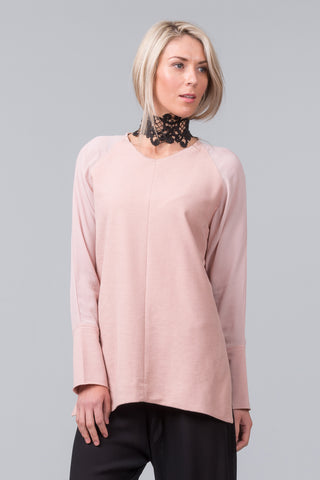 MILD RED Luxe Sundays - Premium loose fit spring / summer cotton sweatshirt top - blush/pink cotton front and back with viscose sleeves
