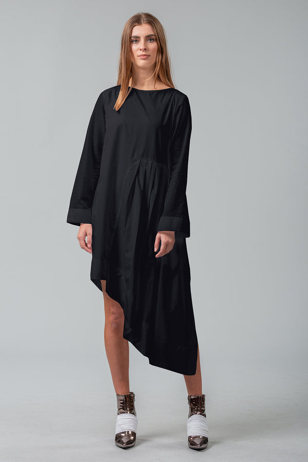 Secrets Unfold - Sleeved Dress - Black