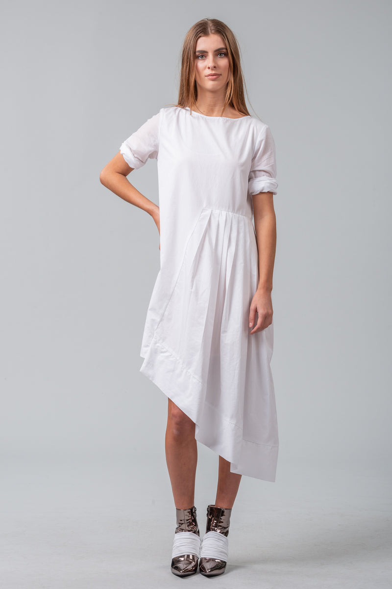 Secrets Unfold - Sleeved Dress - White
