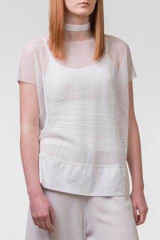Pencil Pusher Mesh Top - white
