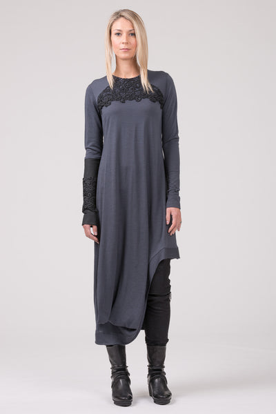 Lady of Paris merino dress - steel