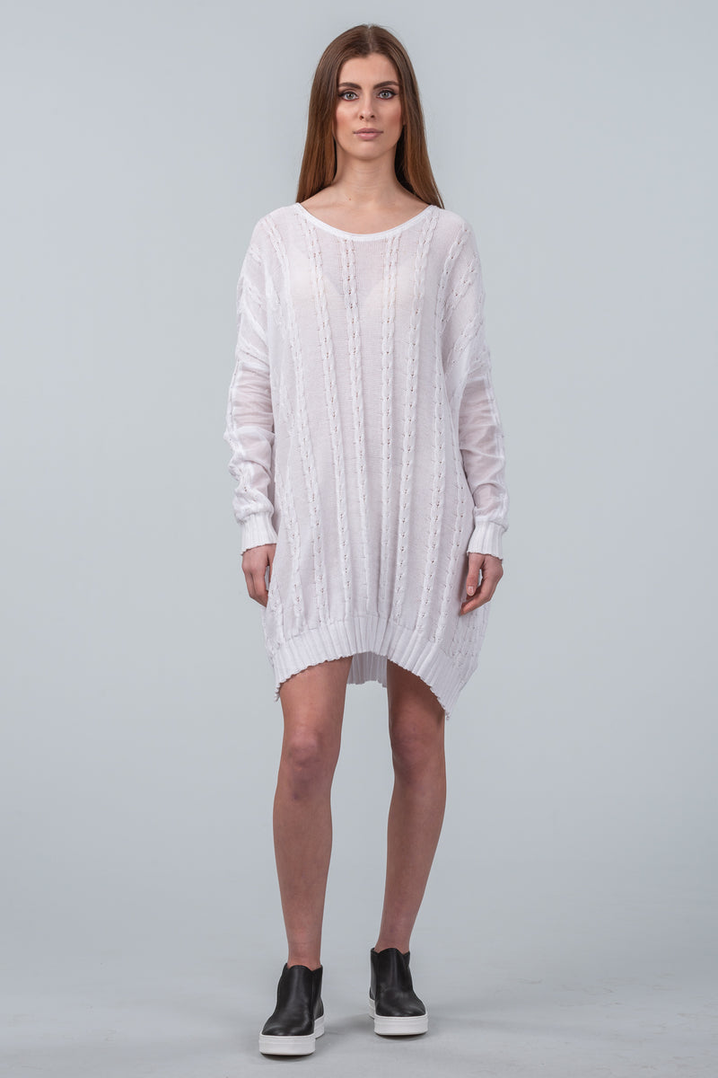 Curbing Time cotton sweater dress - white