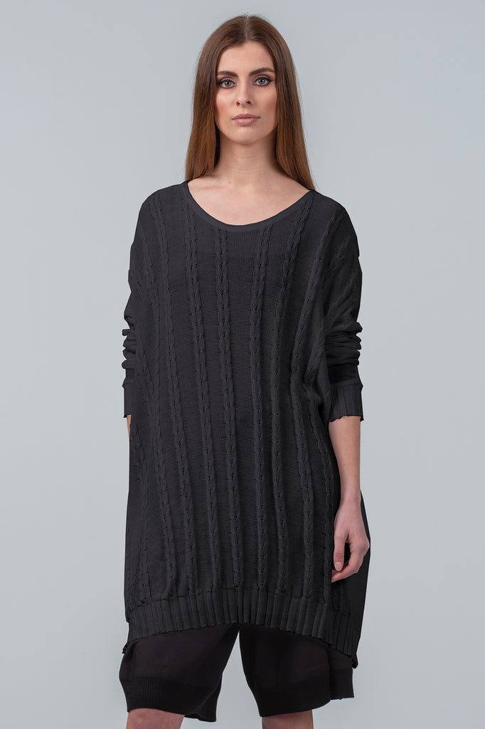 Curbing Time cotton sweater dress - black