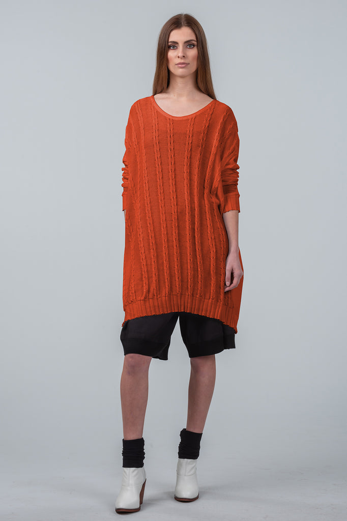 Curbing Time cotton sweater dress - burnt orange