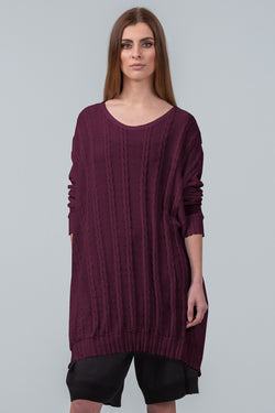Curbing Time cotton sweater dress - dark plum