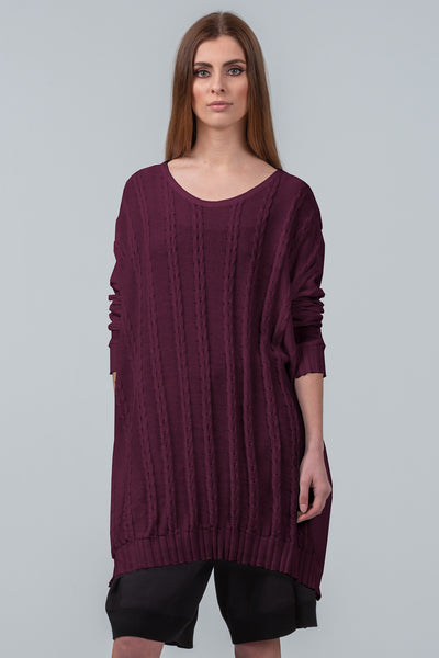 Curbing Time cotton sweater dress - dark plum 755bf1fb2