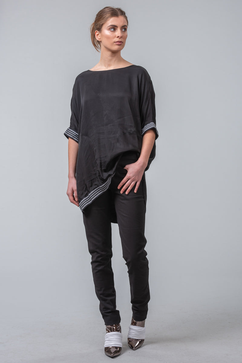 MILD RED 4 Corners loose fit black viscose/satin luxury tee with pockets and elastic trim. Designer women's clothing. Made in New Zealand