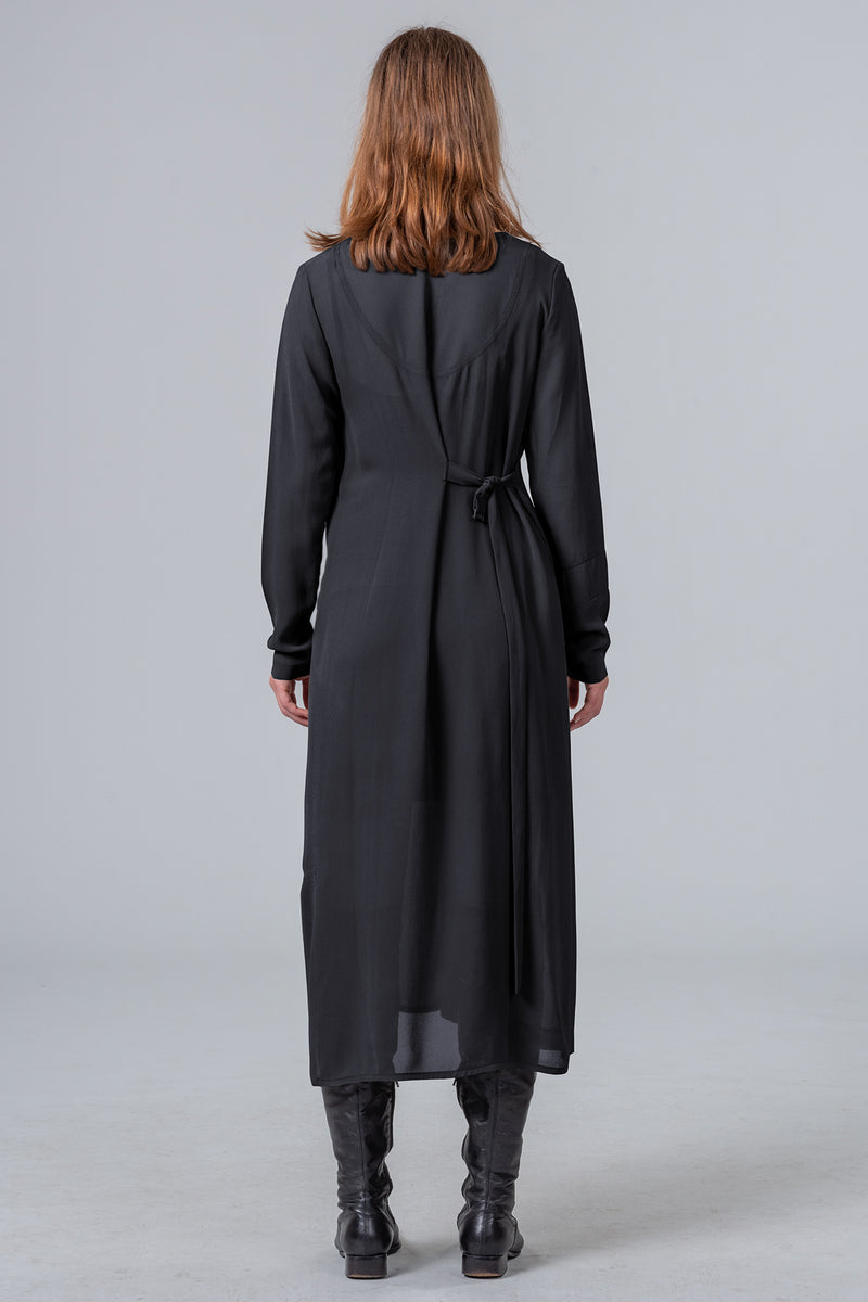 Time Loop - sleeved dress - black