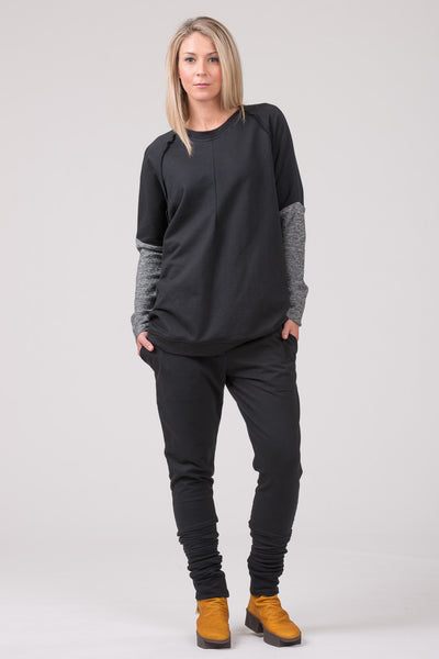 Polished  Concrete sweatshirt - black with dark grey marle