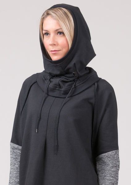 Gable Hooded Scarf - cotton - black