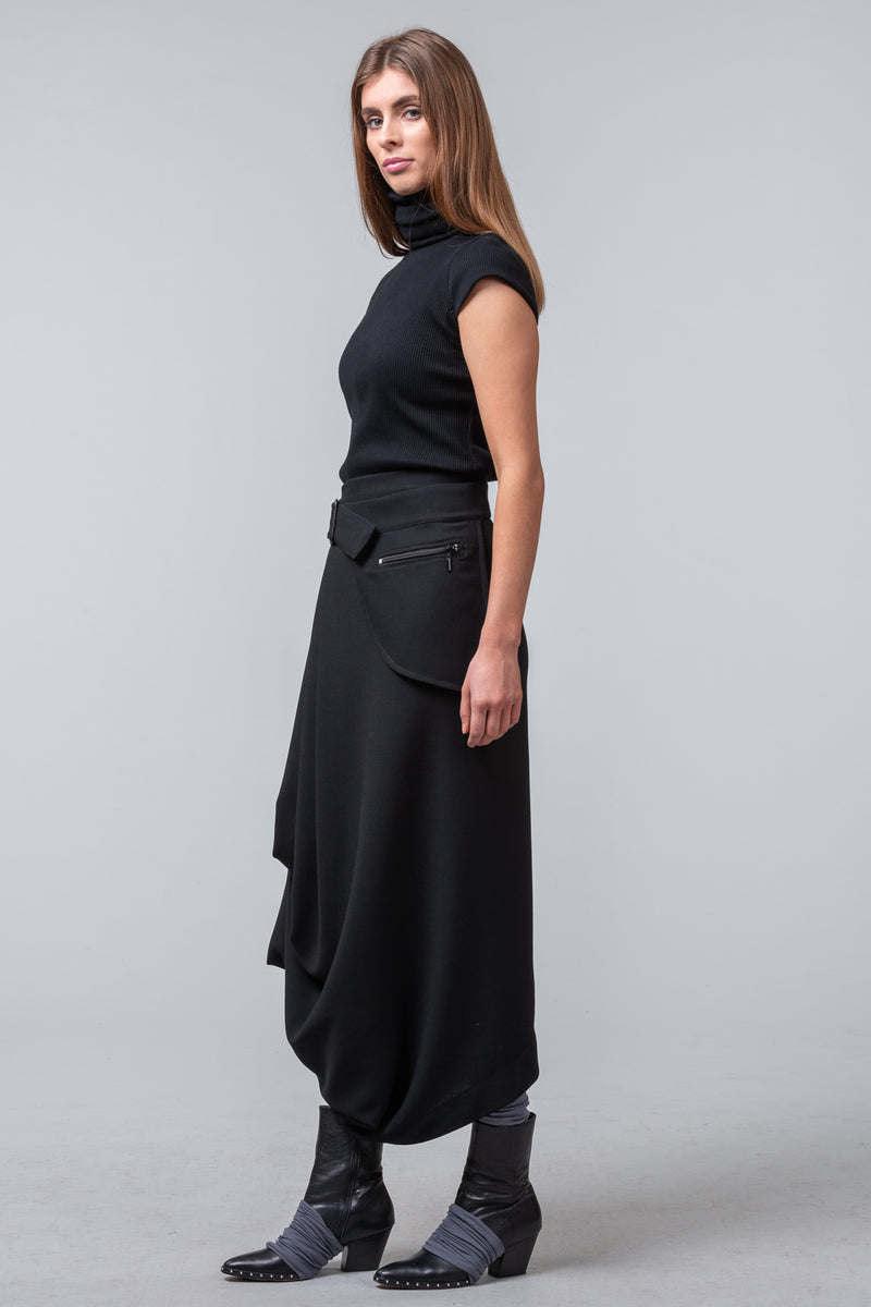 Architects of Winter - wool skirt with belt bag - black