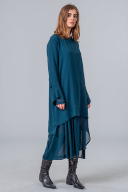 Remember Spring Overdress - dark teal
