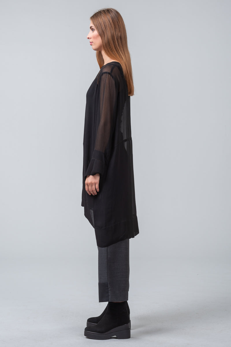 MINT EDITION - viscose overdress + scarf - black