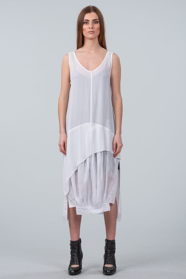 Gathered in Time Dress - white
