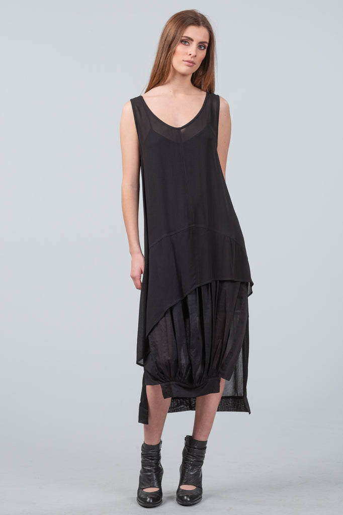 Gathered in Time Dress - black