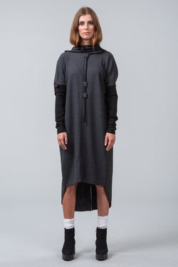 INSCRIPTION wool dress - grid grey