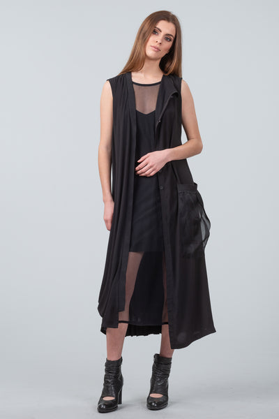After Dark sleeveless coat dress - black