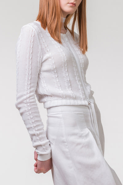 Paper Back Writer Knit Jacket - white