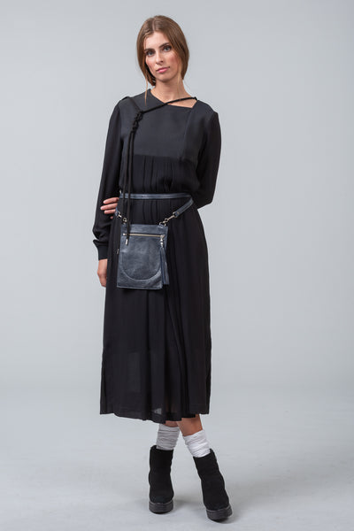 WATERMARK wool dress - grid - grey / black