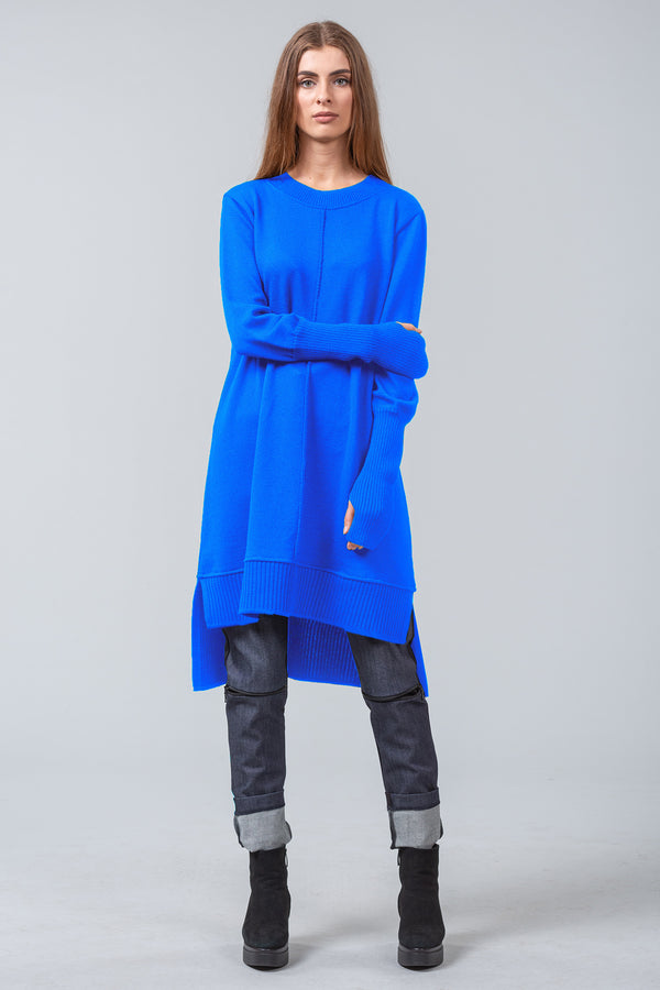 MONET - merino knit sweater dress - bright blue