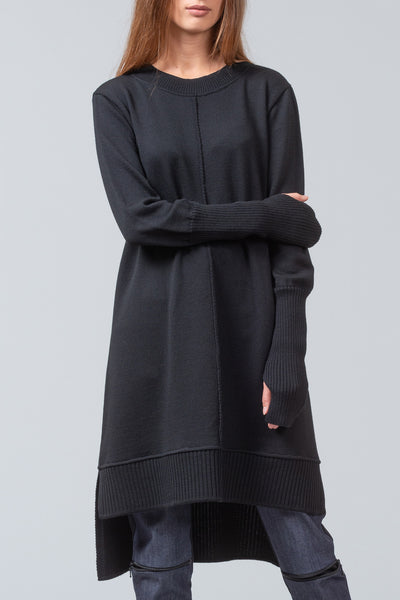 MONET merino knit sweater dress - black
