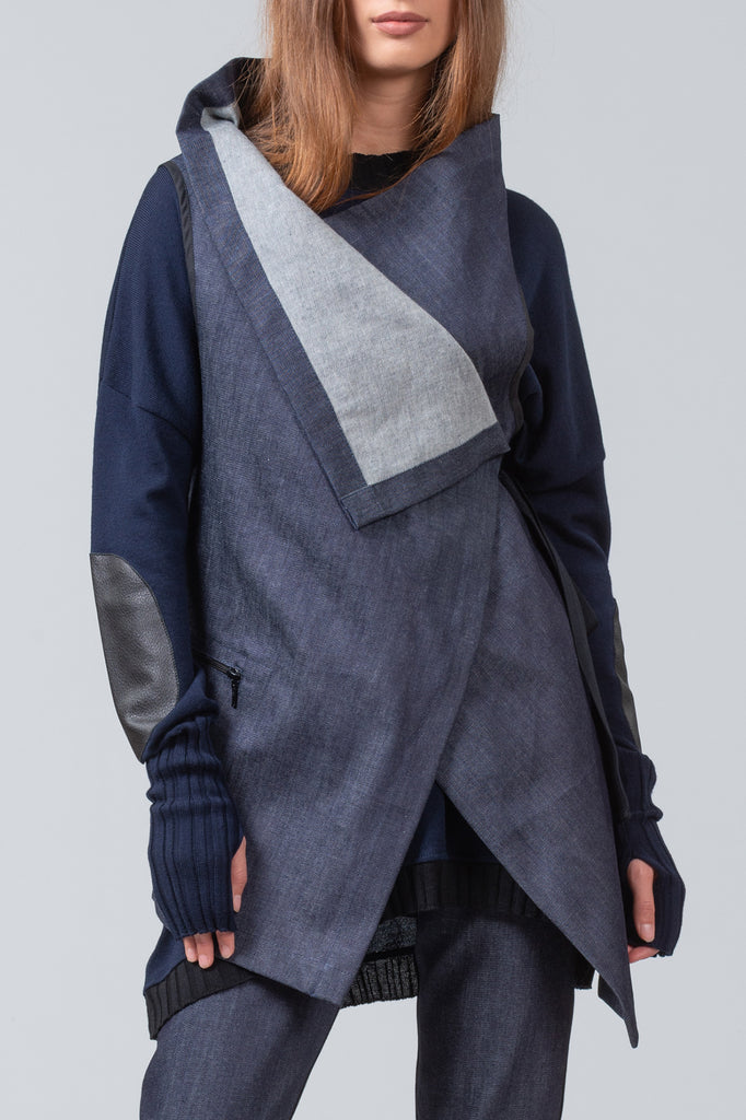 TRANSIT - sleeveless jacket - blue denim