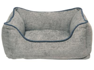Dog Gone Smart Grey Lounger Bed with Blue Trim